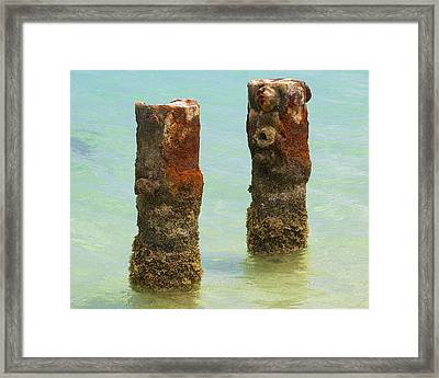 Twin Rusted Dock Piers Of The Caribbean II Framed Print