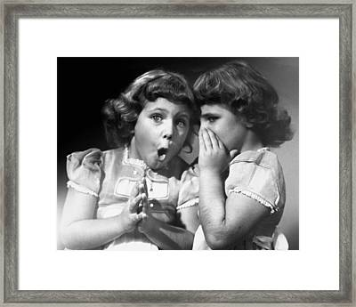 Twin Sisters Sharing Secrets Framed Print by George Marks
