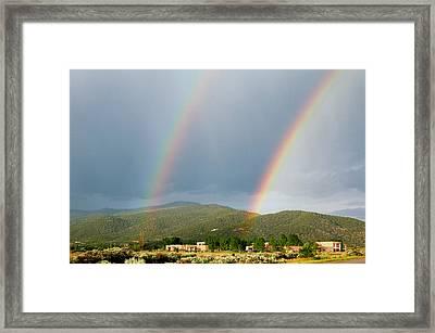 Twin Taos Rainbows Framed Print by Michael Knight