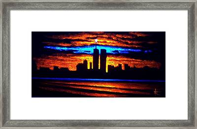 Twin Towers In Black Light Framed Print by Thomas Kolendra