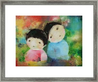 Framed Print featuring the painting Twins 1 by Becky Kim