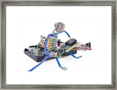 Twisted Man Assemblage The Computer Framed Print by Aleksandr Volkov