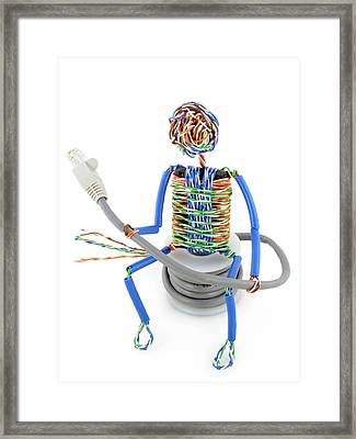 Twisted Man From A Computer Cable Framed Print by Aleksandr Volkov
