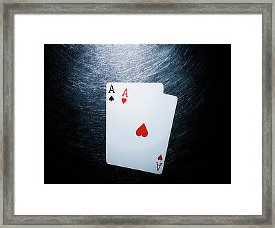 Two Aces Playing Cards On Stainless Steel. Framed Print by Ballyscanlon