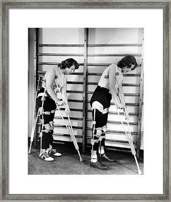 Two Adult Women Polio Victims With Leg Framed Print by Everett