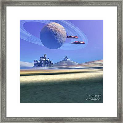 Two Aircraft Guard This Alien Planet Framed Print by Corey Ford