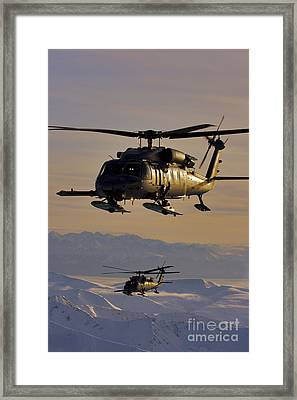 Two Alaska Air National Guard Hh-60g Framed Print by Stocktrek Images