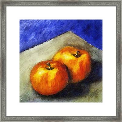 Two Apples With Blue Framed Print by Michelle Calkins