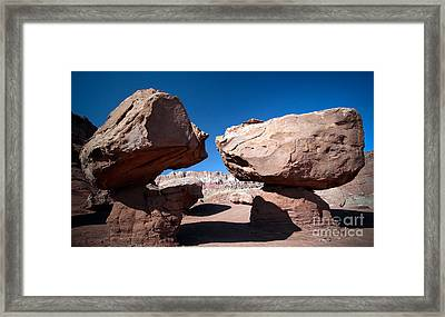 Framed Print featuring the photograph Two Balancing Boulders In The Desert by Karen Lee Ensley