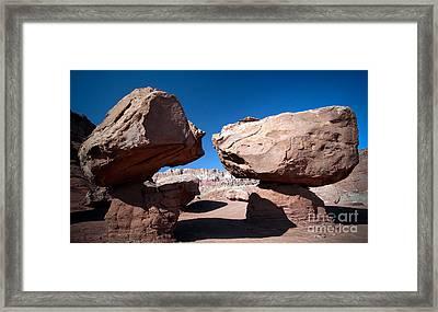 Two Balancing Boulders In The Desert Framed Print by Karen Lee Ensley