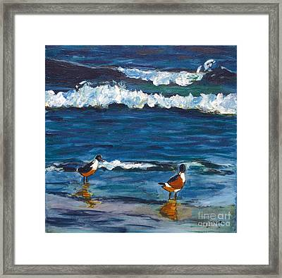 Two Birds With Waves Framed Print