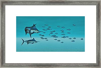 Framed Print featuring the digital art Two Blue Marlin by Walter Colvin