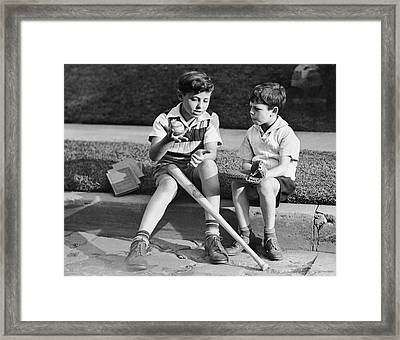 Two Boys Playing Baseball Framed Print by George Marks