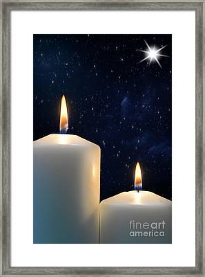 Two Candles With Star Of Bethlehem  Framed Print by Michael Gray