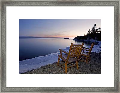 Two Chairs At Waters Edge Looking Out Framed Print by Susan Dykstra