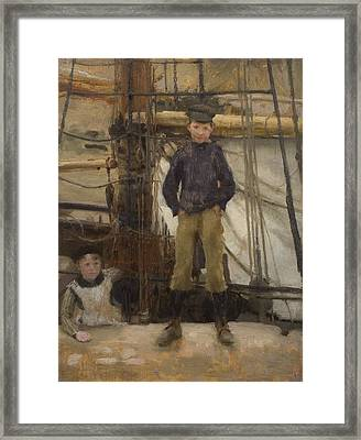 Two Children On Deck Framed Print by Henry Scott Tuke