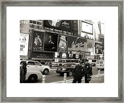 Two Cops On Broadway Framed Print by RicardMN Photography