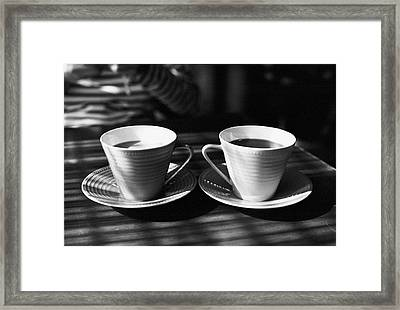 Two Cups Of Coffee In Sunlight Framed Print by Breeze.kaze