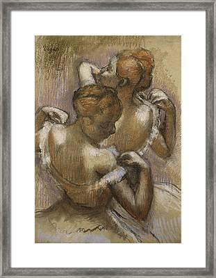 Two Dancers Adjusting Their Shoulder Straps Framed Print by Edgar Degas