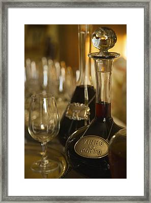 Two Decanters Of Port Wine And Glasses Framed Print by Michael Melford