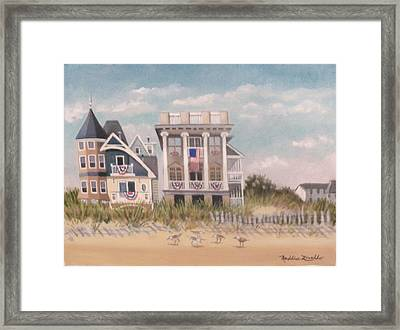 Two Different Houses On The Beach Framed Print