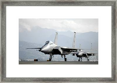 Two F-15a Eagles On The Flight Line Framed Print