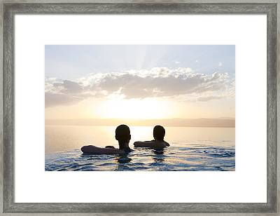 Two Friends Enjoy The Sunset Framed Print by Taylor S. Kennedy