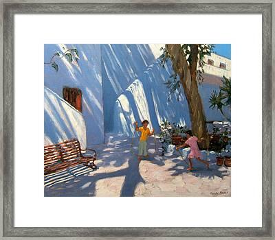 Two Girls Skipping Mykonos Framed Print