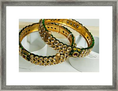 Two Green And Gold Bangles On Top Of Each Other Framed Print by Ashish Agarwal