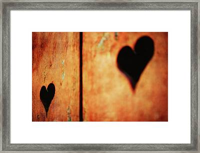 Two Hearts Carved Framed Print by Alexandre Fundone