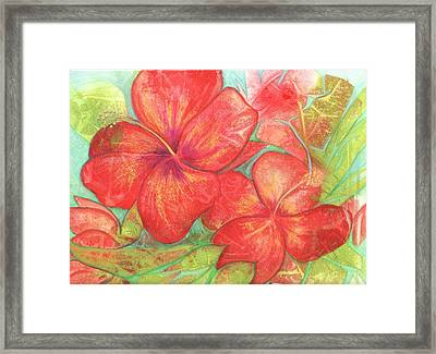 Two Hibiscus Blossoms Framed Print by Carla Parris