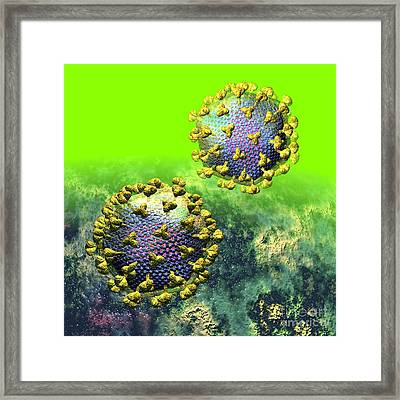 Two Hiv Particles On Bright Green Framed Print by Russell Kightley