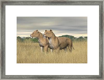 Framed Print featuring the digital art Two Hunters by Walter Colvin