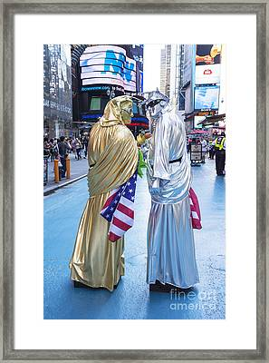 Two In Time Square Framed Print by Ed Rooney