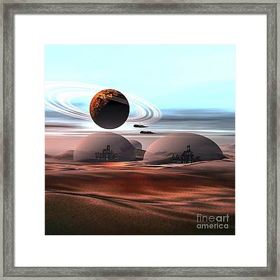 Two Jet Aircraft Fly Over Dome Framed Print by Corey Ford