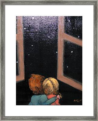 Two Kids Stargazing Framed Print
