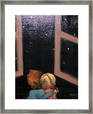 Two Kids Stargazing Framed Print