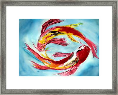 Framed Print featuring the painting Two Koi For Words by Alethea McKee
