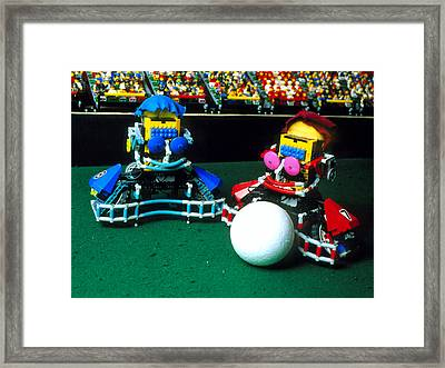 Two Lego Footballers With A Ball At Robocup-98 Framed Print by Volker Steger