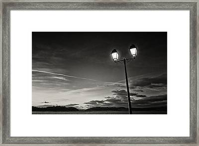 Two Lights At The Sunset Framed Print by Philippe Taka