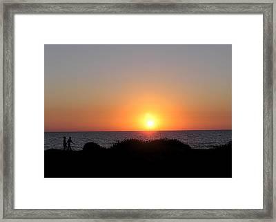 Two Lovers Sunset Beach Walk Framed Print