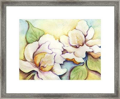 Two Magnolia Blossoms Framed Print by Carla Parris