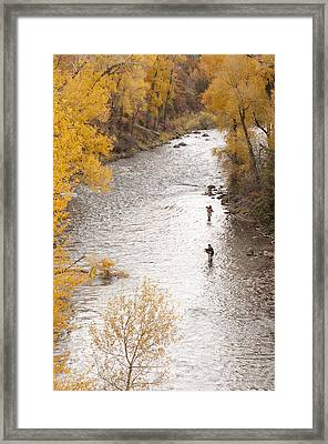 Two Men Flyfishing On The Aspen-lined Framed Print by Pete Mcbride