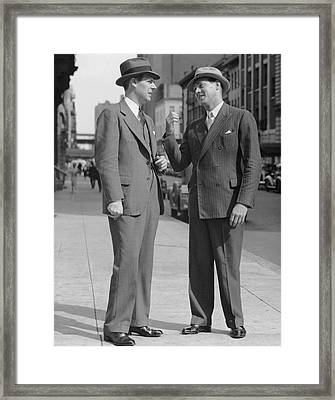 Two Men Talking On Street Framed Print by George Marks