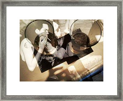 Two Musicians Smoking With A Bar Layered On Top Framed Print