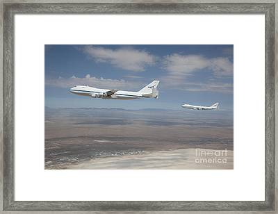 Two Nasa Boeing 747s Framed Print by NASA/Science Source