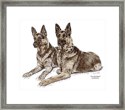 Two Of A Kind - German Shepherd Dogs Print Color Tinted Framed Print by Kelli Swan