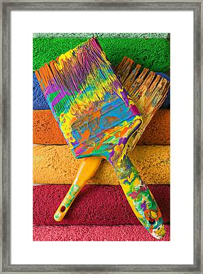 Two Paintbrushes On Paint Rollers Framed Print by Garry Gay