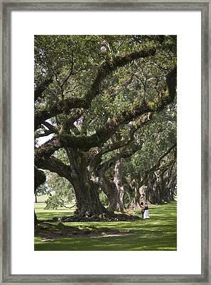Two People Stand Under A Row Of Live Framed Print by Hannele Lahti