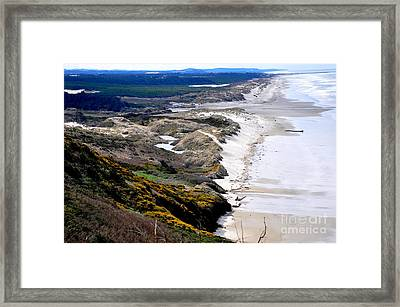 Two People Walking On The Oregon Beach Framed Print by Tanya  Searcy